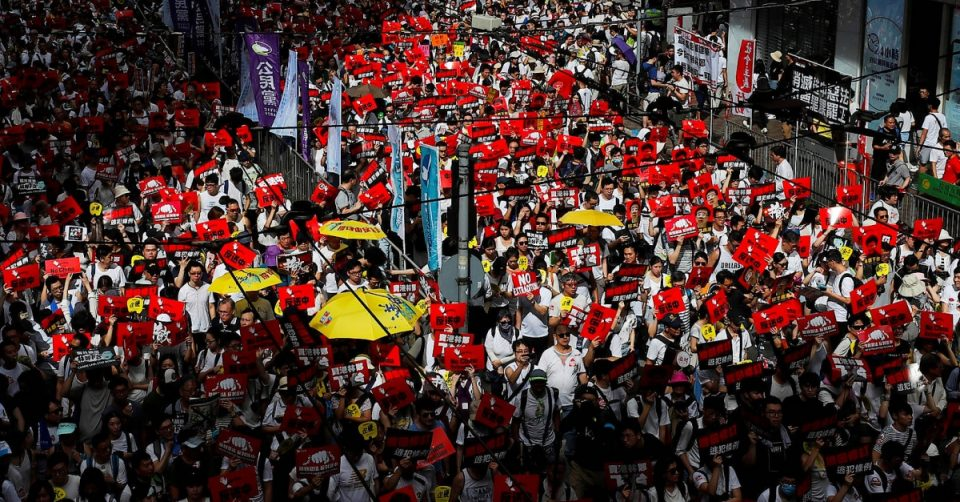 Historic protest in Hong Kong against extradition law to China