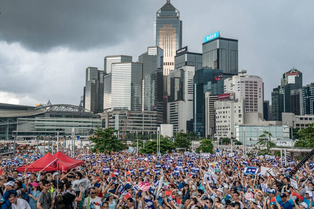 Thousands of people gathered in Hong Kong ahead of country's handover to China
