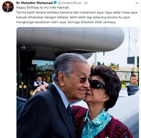 Dr Mahathir congratulates his wife on her 93rd birthday
