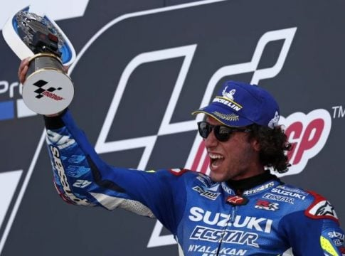 Rins disappoints Marquez to win British GP