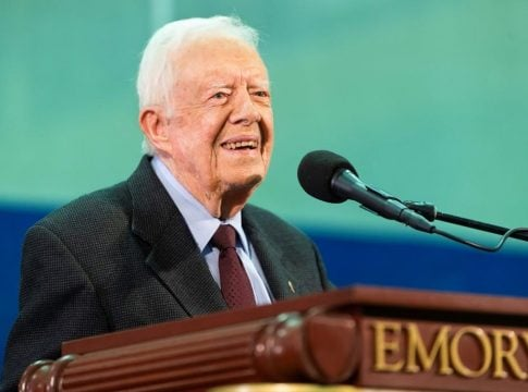 Jimmy Carter receives stitches above his brow after a fall at home